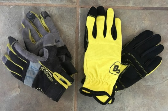 old and new gloves