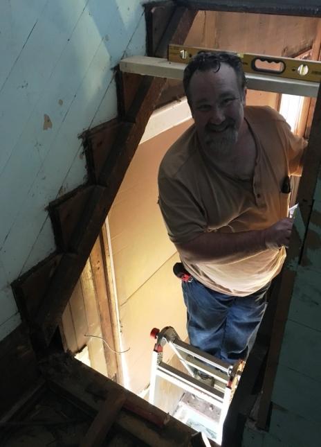 Tyler in stairway
