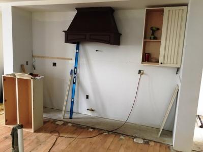 kitchen cabinets half installed