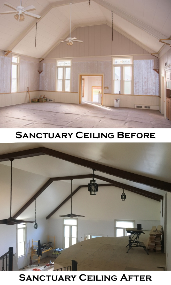 sanctuary ceiling before and after