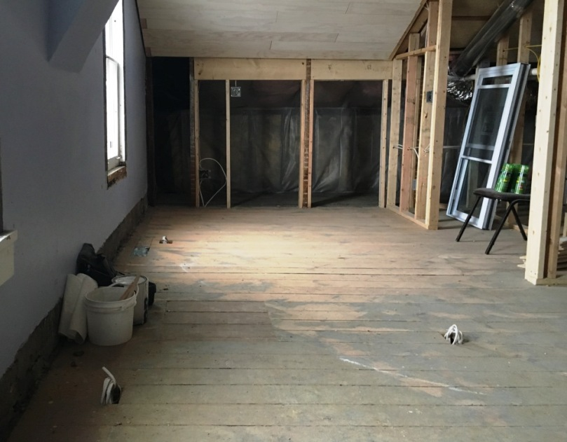 second floor half sanded