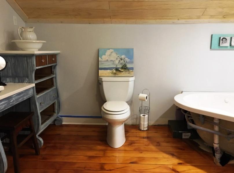 inside bathroom after